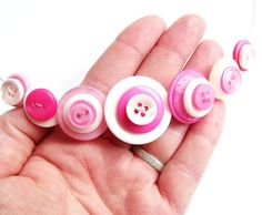Button necklace pink white girly pretty  kitsch by realicoul, £10.00