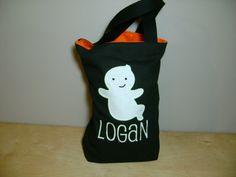 Halloween tote Halloween bag personalized glow by Elizabethsplace, $18.00