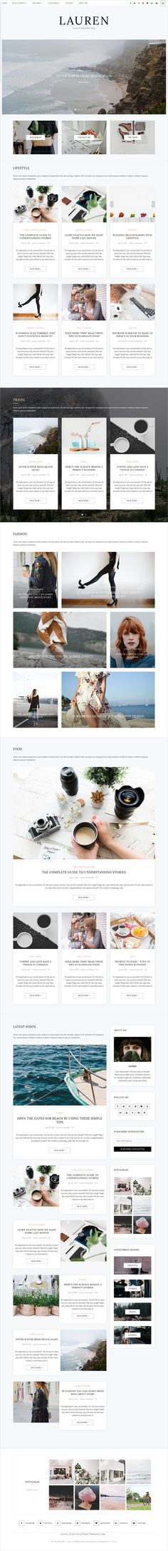 Lauren is clean, minimal and modern design 10in1 responsive #WordPress #blog theme for creative #writer and bloggers website download now..