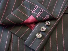 Working cuff on Worsted wool suit with pink satin lining, working cuff, lapelled waistcoat and matching buttonholes. Fashion Menswear, Wool Suit, Pink Satin, Buttonholes, Mens Suits, Cufflinks, Accessories, Dress Suits For Men