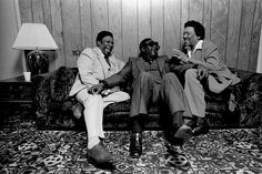 "BB King, Albert King and Bobby ""Blue"" Bland Backstage, Circle Star Theater, Redwood City, CA, early 1980's by David Gahr"