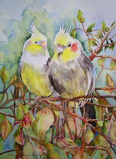 """""""Cockatiels"""" - by Sandra Henderson ~ Henderson"""