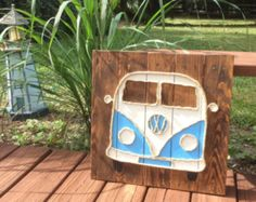 Handmade VW Bus with Rope Beach Pallet Art Coastal Art Rope Art