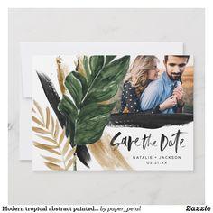 SAVE THE DATE Modern tropical Palm Leaf Romantic abstract painted wedding photo save the date Card Save The Date Postcards, Save The Date Cards, Wedding Photos, Wedding Ideas, Modern Tropical, Painted Leaves, Logan, Stationary, Palm
