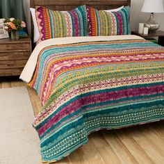Bold colors bring a Southwestern feel to your home with this comforter set. This comforter set is constructed with quality 100 percent cotton for a soft look and feel.