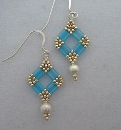 ... Hand Beaded Earrings Blue Tila Beads, Silver Beads Crystals Wire Hooks