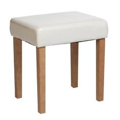 Corona Stool In Cream Faux Leather, Light Wood Leg is coated in a spirit based antique stain with a finishing coat of tinted wax effect lacquer. #Furniture #BedroomFurniture #LeatherStool http://pricecrashfurniture.co.uk/stool-in-cream-faux-leather-light-wood-leg.html