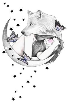 Over The Moon Art Print by andreahrnjak Cute Animal Drawings, Pencil Art Drawings, Art Drawings Sketches, Cute Drawings, Wolf Love, Wolf Artwork, Wolf Spirit Animal, Art Watercolor, Wolf Wallpaper