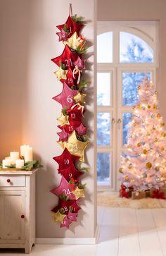 "Advent Calendar ""Stars"" - Travel and Extra Felt Christmas, Christmas Time, Christmas Wreaths, Christmas Crafts, Christmas Decorations, Xmas, Holiday Decor, Advent Wreath, Diy Photo"
