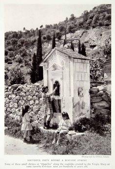 1923 Print Corsica Island Children Roadside Shrine Chapelles Mediterranean NGMA1
