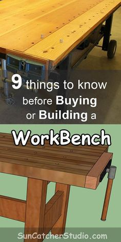 Workbench – plans, ideas, designs to know before buying or building a workbench for your garage or shop. Workbench Plans – (Tips, Ideas on Portable,… Building A Workbench, Workbench Plans, Woodworking Workbench, Woodworking Furniture, Garage Workbench, Workbench Organization, Woodworking Machinery, Woodworking Workshop, Workbench Height