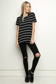 #stripes. ripped jeans.