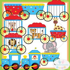 Circus Train Cute Digital Clipart for Card Design, Scrapbooking, and Web Design. $4.00, via Etsy.