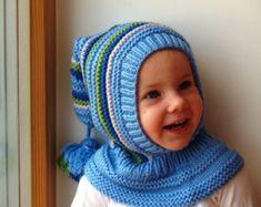 Blaue Elf Mütze. Stricken Sie Sturmhaube für Baby, Kleinkind, junge Hoodie Hut mit Pom Pom Tail. Größen von 6 Monaten bis 10 Jahre