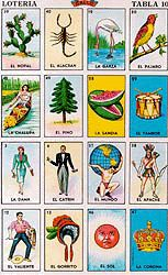 "Mexican loteria is a wonderful traditional card game similar to ""Bingo."" However, it is also a form   of folk art, as each of the colorful cards has an image of popular Mexican figures, such as ""El   Catrin"" (The Gentleman), ""El Borracho"" (The Drunk), ""La Calavera"" (The Skeleton), ""La Chalupa""   (The Flower Boat), etc.  There are many different variations of these colorful cards, including   loteria cards with images from the Day of the Dead, fruits, and other unusual figures."