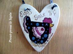 coeur en bois peint