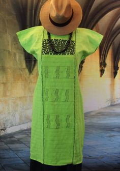 Lime Green & Black Huipil, Mixe Cotzocon weavers Oaxaca, Mexico Hippie Cowgirl  #Handmade #Huipildress