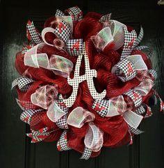 Crimson Alabama Wreath Bama Wreath Roll Tide by Alabama Football Wreath, Alabama Wreaths, Football Team, Deco Mesh Ribbon, Deco Mesh Wreaths, Door Wreaths, Auburn Wreath, Crimson Tide, Alabama Crimson