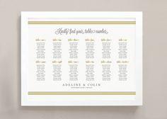 INSTANT DOWNLOAD | Printable Seating Chart Poster Template | Gold Script |  Word Or Pages | 18x24 | Editable Artwork Colors