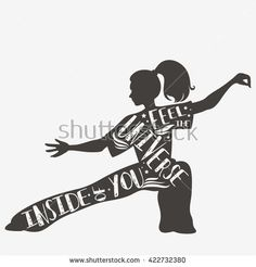 Feel the universr inside of you. Fitness vector illustration with silhouette. Typography design with lettering. It can be used as a print for t-shirts and bags, logo or banner. - stock vector