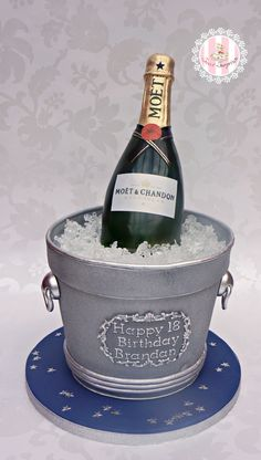 Excellent Photo of Birthday Cake Champagne Bottle . Birthday Cake Champagne Bottle Champagne Bottle And Bucket Completely Edible Cakecentral Special Birthday Cakes, Birthday Cake With Photo, Adult Birthday Cakes, Cake Birthday, Champagne Birthday, Champagne Cake, Ice Bucket Cake, Prosecco Cake, Wine Bottle Cake