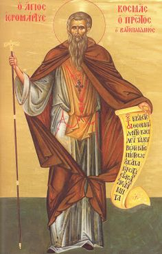 Holy Martyr Kosmas the Protos (+ and the Athonite Holy Martyrs of Karyes With Him. They suffered at the hands of the Papists at the time of the Union of Lyons, which was the work of Emperor Michael Palaeologus and the pope. Byzantine Icons, Orthodox Christianity, Orthodox Icons, Catholic, Saints, Painting, Angels, October, Inspirational