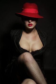 red hat, red lips