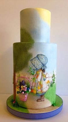 A Painted Easter Holly Hobbie - Cake by Cakin' Jane Fancy Cakes, Cute Cakes, Pretty Cakes, Fondant Cakes, Cupcake Cakes, Hand Painted Cakes, Character Cakes, Holly Hobbie, Gorgeous Cakes