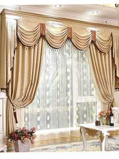 Baltic Jacquard Beige Floral Waterfall and Swag Valance and Sheers and Chenille Curtains