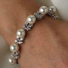 Cz 10mm and 8mm Ivory Pearl Bracelet.  7