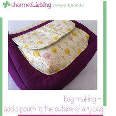 FREE sewing tutorial: bag making - pockets, part II: how to add a pouch with flap