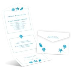 Starfish and Seashells - Seal and Send Invitation