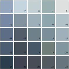 16 Kensington blue. 18 Newburyport blue. Benjamin Moore Blue House Paint Colors - Palette 18