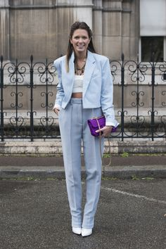 street style: Paris Fashion Week Fall 2014... Helena Bordon gave the crop top a sophisticated makeover under her pastel suit.