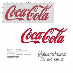 Coca Cola logo free cross stitch pattern download                                                                                                                                                                                 More