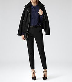 Womens Navy Bow Embellished Shirt - Reiss Bea