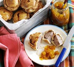 James Martin's mini pork pies are sure to be a summer picnic favourite, from BBC Good Food magazine. Bbc Good Food Recipes, Pie Recipes, Great Recipes, Cooking Recipes, Favorite Recipes, A Food, Food And Drink, Bbc Good Food Show, Rice