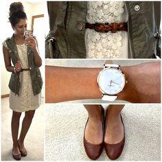 Lace dress + cargo vest.