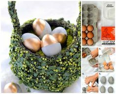 28 Cutest Outdoor Concrete Projects For Your Home .... this site has TONS of ideas! I thought this would be so cute to create a birds nest outside somewhere...leave it concrete or paint them like a real egg...
