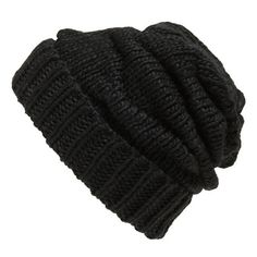 Women's Leith Knit Slouch Beanie ($27) ❤ liked on Polyvore featuring accessories, hats, beanies, headwear, black knit hat, black hat, black beanie, slouchy knit hat and black knit beanie