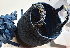 DIY Rope Basket with Recycled Denim [...And the Fabric Mart gift certificate winner is announced! | That Black Chic