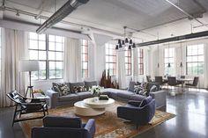 living room of LOFT! I want a loft! Loft Spaces, Living Spaces, Living Rooms, Modern Spaces, Modern Condo, Modern Lofts, Modern Room, Gray Sofa, Gray Sectional