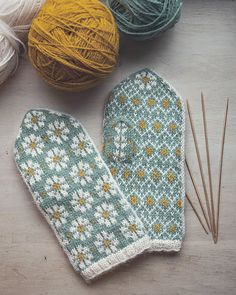 Spring Mittens by Amanda Sund Spring Mittens by Amanda Sund. Spring Mittens by Amanda Sund Spring Mittens by Amanda Sund - STEP-B. Fair Isle Knitting, Free Knitting, Knitting Patterns, Crochet Patterns, Knitting Yarn, Knit Mittens, Knitted Gloves, Knitted Mittens Pattern, Fingerless Mittens