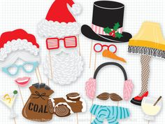 Items similar to Holiday Photo Booth Props - Set Of 11 Christmas Photo Prop Party Decorations Holiday PhotoBooth Props Christmas Party Decorations Photo Prop on Etsy Christmas Photo Booth Props, Christmas Photos, Christmas Ideas, Christmas Stuff, Christmas Holiday, Christmas Story Leg Lamp, Reindeer Noses, Photobooth Props Printable, Naughty Christmas