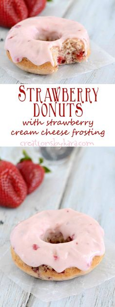 Baked Strawberry Donut Recipe - These donuts are simple to make, bursting with b. Baked Strawberry Donut Recipe - These donuts are simple to make, bursting with berries, and topped with an incredibl Baked Donut Recipes, Baked Doughnuts, Baking Recipes, Dessert Recipes, Donuts Donuts, Mini Donuts, Baked Strawberries, Strawberries And Cream, Recipes With Strawberries