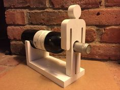 Items similar to Male wine bottle holder on Etsy Fun Projects, Wood Projects, Woodworking Plans, Woodworking Projects, Wood Crafts, Fun Crafts, Deco Originale, Wine Bottle Holders, Bottle Crafts