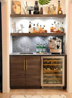 Home Bar Counter, Home Bar Cabinet, Modern Bar Cabinet, Bar Cabinets For Home, Wet Bar Cabinets, Upper Cabinets, Cabinet Ideas, Counter Stools, Home Bar Rooms