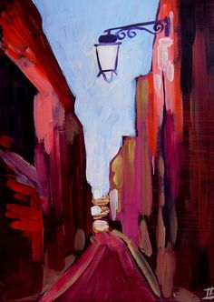 Original painting city town street houses lamp evening... GORGEOUS!