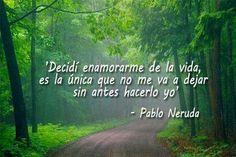 Decidí enamorarme de la vida, es la única que no me va a dejar sin antes hacerlo yo. Pablo Neruda