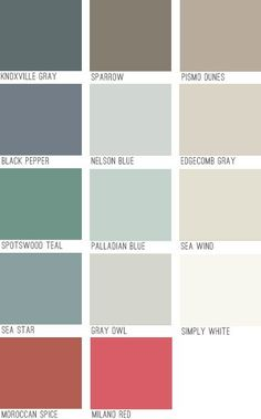 Pain colors. From Young House Love pallette. Like the edgecombe gray, nelson blue, or gray owl. Simply White for all trim.